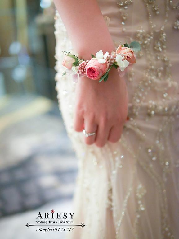 田園迷你玫瑰,新娘手花環,鮮花手腕花,新秘作品,美式婚禮,愛瑞思,ariesy