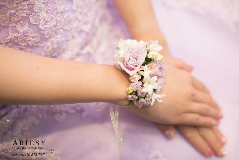 紫玫瑰新娘手花環,鮮花手腕花,新秘作品,愛瑞思,ariesy