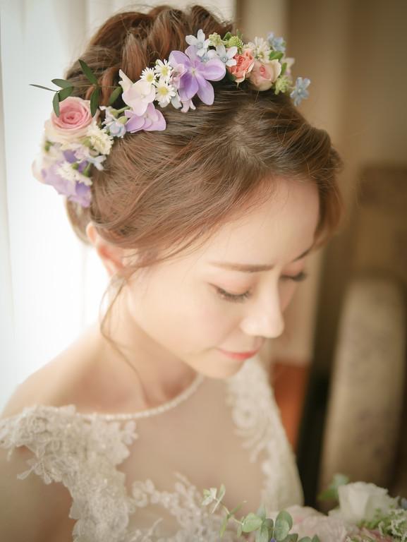 繽紛新娘花環,日系新娘捧花,新娘秘書,台北新秘,粉色系新娘花圈