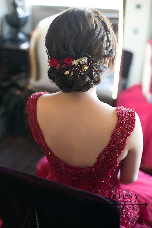 文定新秘,台北君品新秘,紅色禮服造型,愛瑞思,ARIESY