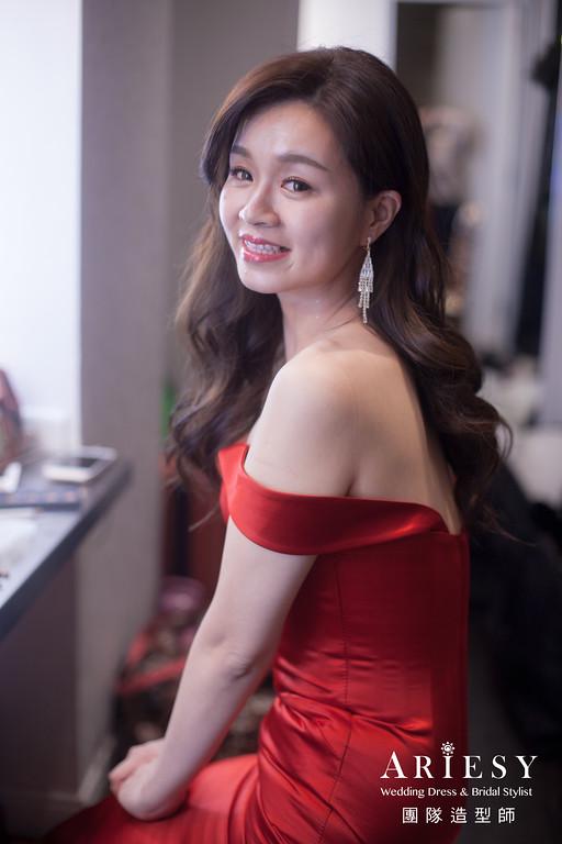 送客髮型,放髮造型,紅色禮服造型,新娘髮型,時尚造型