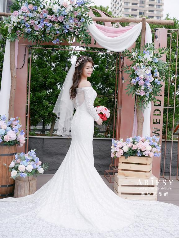 證婚髮型,台北新秘,放髮造型,新秘花藝,鮮花新秘