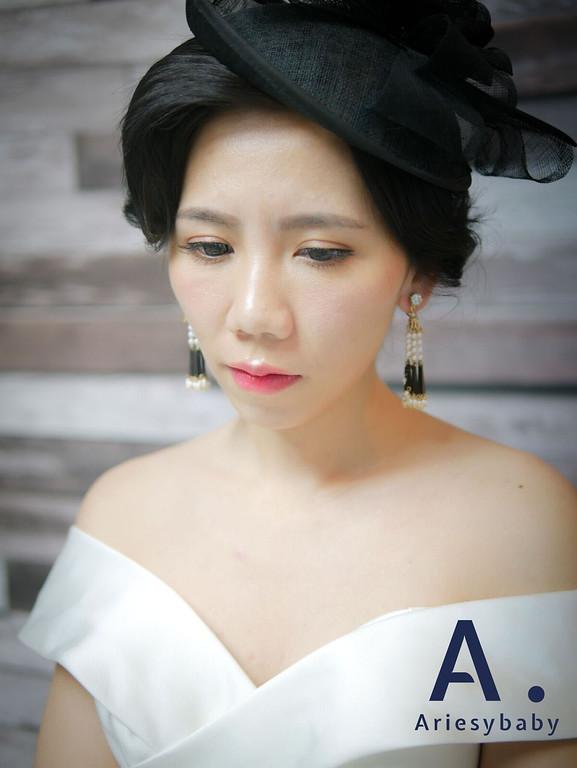 ariesybaby,歐美復古髮型,指推瀏海,復古新娘髮型,黑髮新娘造型