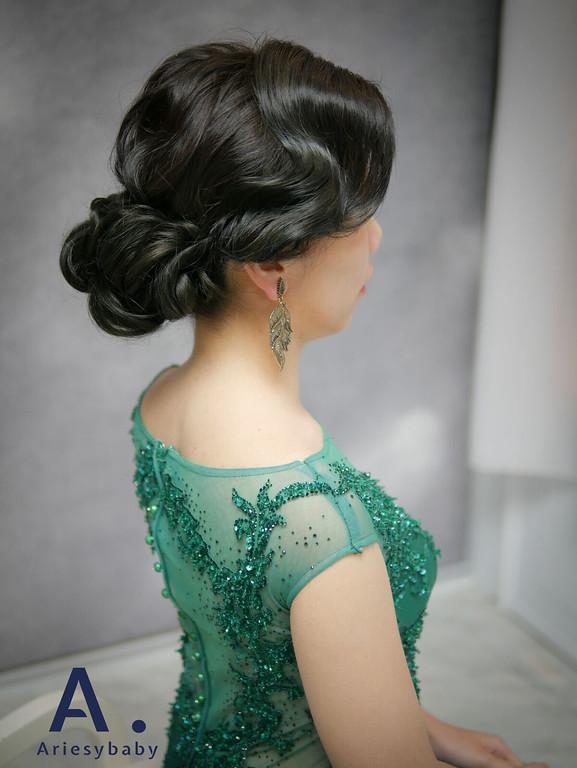 復古髮型,歐美復古風,指推瀏海,ariesybaby,黑髮新娘造型