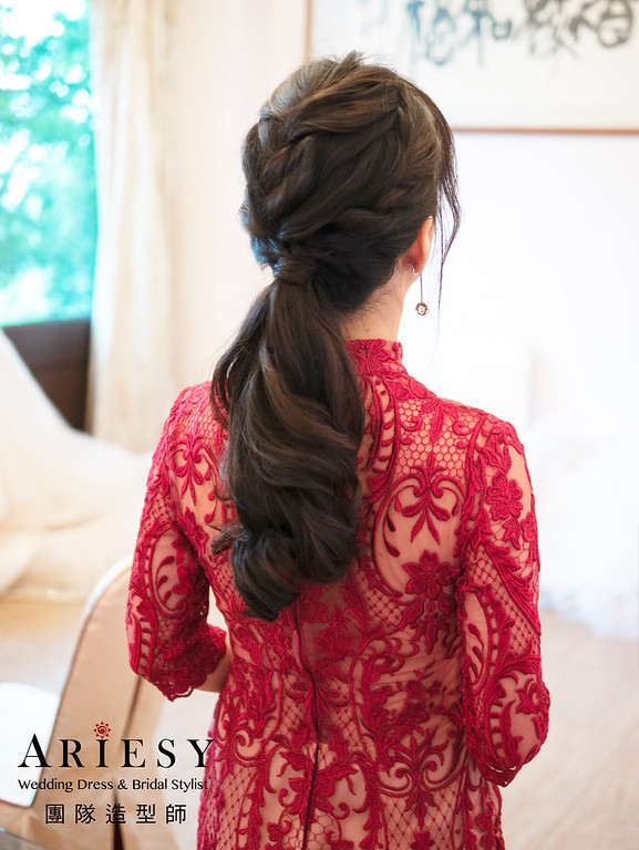 黑髮新娘秘書、韓系新娘妝感清透妝感、韓風新娘髮型、甜美風格