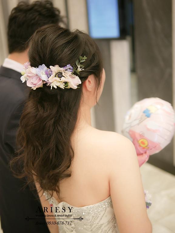 銀色禮服,新娘髮型,黑髮禮服造型,鮮花新秘,ariesy