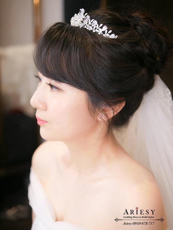 皇冠造型,愛瑞思,黑髮新娘髮型,白紗造型,八德彭園
