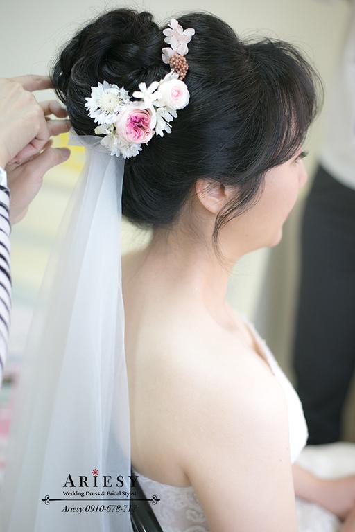 迎娶新娘造型,黑髮新娘,鮮花造型,鮮花新娘髮型,愛瑞思