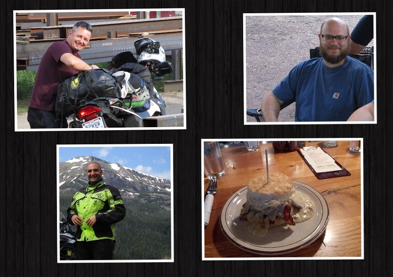 The players - clockwise from upper left:<br /> <br /> Jon, Tim, Franklin the Sandwich, Me<br /> <br /> Tim is a buddy from back home in Ohio.  He and his wife, Nikki, were planning on being in Colorado for a week in June; and I decided to ride out and see them.  Jon, also a buddy from back home, decided to come out, too.  Due to scheduling issues, I would spend a few days with Jon, then a day with Tim.  Jon and Tim would not be able to see each other, as Jon had to leave the day Tim was going to be arriving.<br /> <br /> Oh, and Franklin?  He's a delicious sandwich that I had heard about, so I rode an extra few hundred miles on my own to ingest him.  More on that, later.