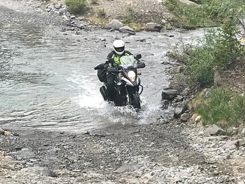 Day 3 - There are numerous creek crossings on Imogene.  Here, I tackle one.  Photo by Jon.