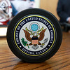 Retired Fitchburg District court Judge Edward Reynolds played on the over 80 USA hockey team that played Canada in the Coupe Canada 150 Cup on Ottawa on October 28, 2017. The US bet Canada by a score of 3 to 2. This is a hockey puck he got for playing in the game. SENTINEL & ENTERPRISE/JOHN LOVE