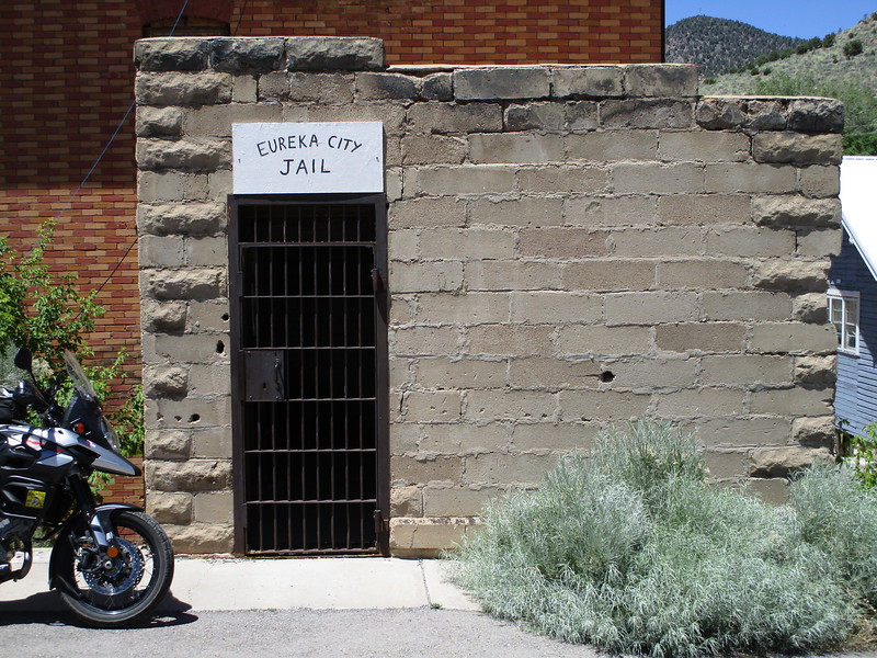 Day 2 - Another Eureka, in Utah on US 6.  The city jail is no longer in operation.<br /> <br /> I hauled hard on US 50, US 6, and then US 40 to meet Jon in Steamboat Springs, Colorado on the evening of day 2.   Day 2 was about 600 miles, and I got to Steamboat right around dusk.  I actually met Jon on the road coming the other way; we rode together into Steamboat and got dinner, then crashed at one of his friend's places nearby.