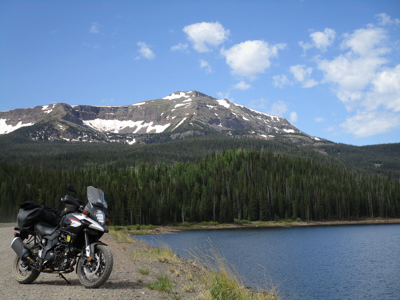 Day 3 - heading out to explore some of Colorado.  The plan is to ride south, towards Ouray, and hit some gravel and fun pavement.  We took a brief detour down a few forest service roads.  This is the Yamcolo Reservoir, near Yampa CO.  Flat Top Mountain is in the background.