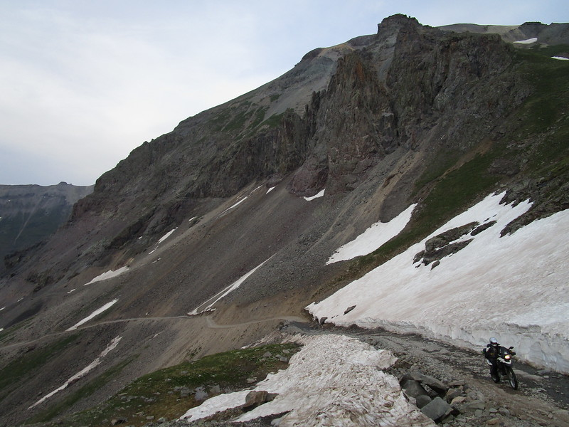 Day 3 - We headed off the pavement and onto Imogene Pass, a fairly technical gravel / dirt ascent over the San Juan Mountains which runs between Ouray and Telluride, Colorado.  The pass crosses the mountain range at over 13,000 feet, so there is still snow up here.