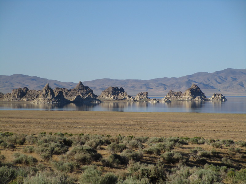 Day 1 - The north end of Pyramid Lake.  Reminds me of Mono Lake, with the formations jutting out of the water.  From Pyramid Lake I rolled south on some gravel and then paved state routes, crossed over I-80 near Fernley, NV, and continued on US 50 east.<br /> <br /> I spent the night of day 1 camped at a city park near Austin, Nevada, on US 50.