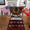 Retired Fitchburg District court Judge Edward Reynolds played on the over 80 USA hockey team that played Canada in the Coupe Canada 150 Cup on Ottawa on October 28, 2017. The US bet Canada by a score of 3 to 2. Reynolds brought the winners cup to Fitchburg City Hall on Thursday. SENTINEL & ENTERPRISE/JOHN LOVE