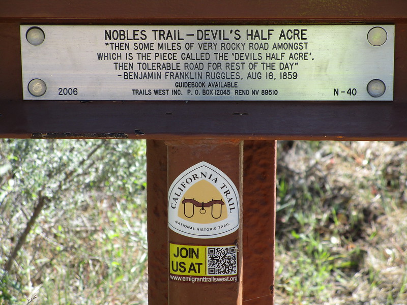 """Day 1 - I stopped to check out this marker near Lassen National Park, in a valley known as 'Devil's Half Acre"""".  The California Trail was an offshoot, basically, of the Oregon Trail; and this trail was traveled by a lot of gold seekers in the late nineteenth century.<br /> <br /> I'll go into more about the trails later in the blog."""