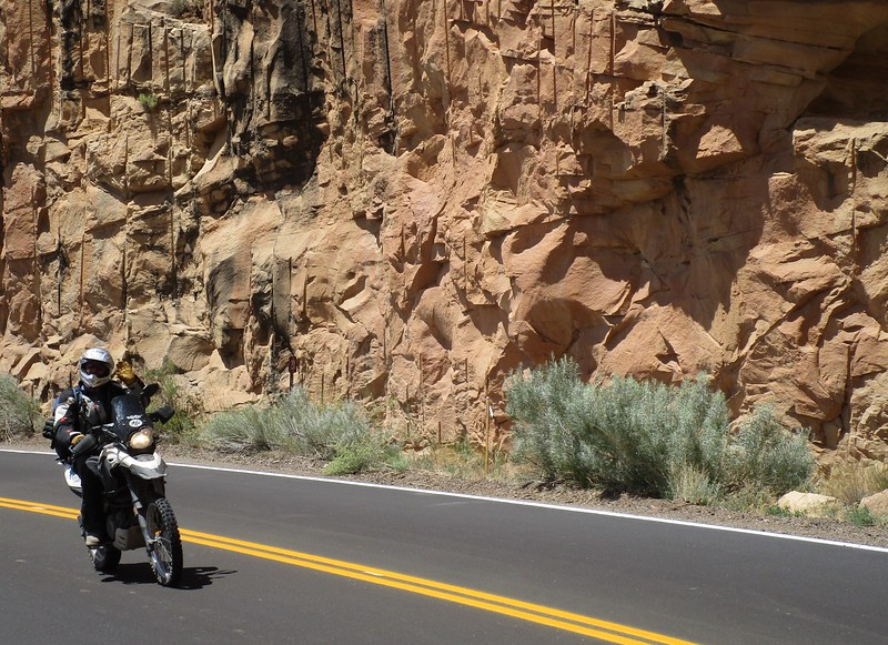 Day 4 - Jon gives about the most gay wave I have ever seen, coming through the Colorado National Monument.