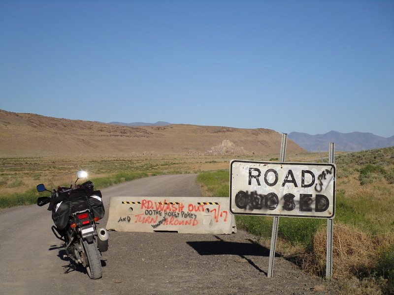 Day 1 - Pyramid Lake is not only a lake, but an Indian Reservation.  Their tribal road department has some conflicting information going on here.  I figured on a bike I should be able to get through most anything, so I went on.  The road was passable.