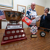 Retired Fitchburg District court Judge Edward Reynolds played on the over 80 USA hockey team that played Canada in the Coupe Canada 150 Cup on Ottawa on October 28, 2017. The US bet Canada by a score of 3 to 2. He chats with Mayor Stephen DiNatale in his office at City Hall on thursday when he brought the cup in for them to see. SENTINEL & ENTERPRISE/JOHN LOVE