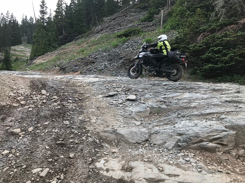 Day 3 - There are also a lot of rock shelves and similar rough ascents on the pass.  On a bike you can usually find a decent line to avoid contacting the bottom of the engine on the more sharp rocks.  Photo by Jon.