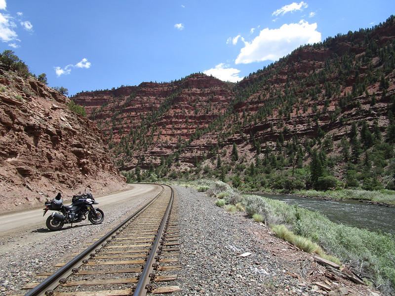 Day 3 - The Colorado River Headwaters Scenic Byway, near Burns, CO.  The road, train tracks, and river all are squeezed into the narrow gap of the canyons eroded over millions of years by the Colorado River.  This is a beautiful route.