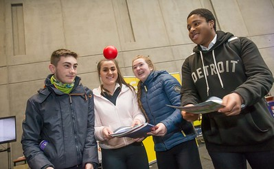 Ciaran Cuddihy, Alannah Dolan, Eve Lacey and Alex Ukonu, Abbey Community Schook, Ferrybank during the Waterford Institute of Technology Schools' Open Day at the WIT Arena. On Saturday, 20 January, WIT is running another open day, the #StudyatWIT Open Day which will have information available on all courses available across WIT's schools of Lifelong Learning, Humanities, Engineering, Science & Computing, Health Sciences, Business. Picture: Pat Moore