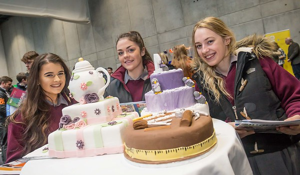Emma Hennessy, Ali Cushen and Jessica Dixon, De La Salle, Bagenalstown during the Waterford Institute of Technology Schools' Open Day at the WIT Arena. On Saturday, 20 January, WIT is running another open day, the #StudyatWIT Open Day which will have information available on all courses available across WIT's schools of Lifelong Learning, Humanities, Engineering, Science & Computing, Health Sciences, Business. Picture: Pat Moore