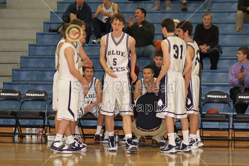 (5) Ethan Schmidt - 1st Quarter - Tuesday, December 07, 2010 - Licking Heights Hornets at Granville Blue Aces - Junior Varsity Basketball