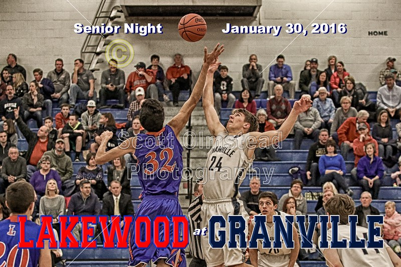 Lakewood High School Lancers at Granville High School Blue Aces - Senior Night - Saturday, January 30, 2016