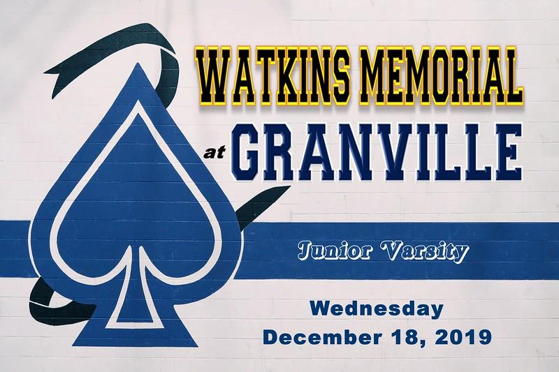 Junior Varsity - Watkins Memorial High School Warriors at Granville High School Blue Aces - Wednesday, December 18, 2019
