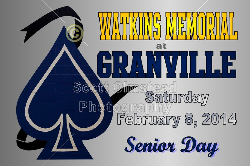 Saturday, February 8, 2014 - Watkins Memorial Warriors at Granville Blue Aces - Senior Day