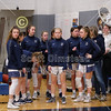 The Blue Aces prepare to take the court - Watkins Memorial High School Warriors at Granville High School Blue Aces - Saturday, January 25, 2020