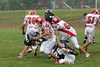(41) Adam Green, (76) Mike Thompson, (54) Grant Willis - August 27, 2005 Granville Blue Aces at Johnstown Johnnies, JV Football