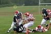 (85) Alex Miller, (41) Adam Green, (54) Grant Willis - August 27, 2005 Granville Blue Aces at Johnstown Johnnies, JV Football