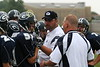Head JV Coach, Shane Huck, address the troops with the help of Assistant Coach, Brian Davis. (51) Nate Hurst, (76) Mike Thompson - August 27, 2005 Granville Blue Aces at Johnstown Johnnies, JV Football