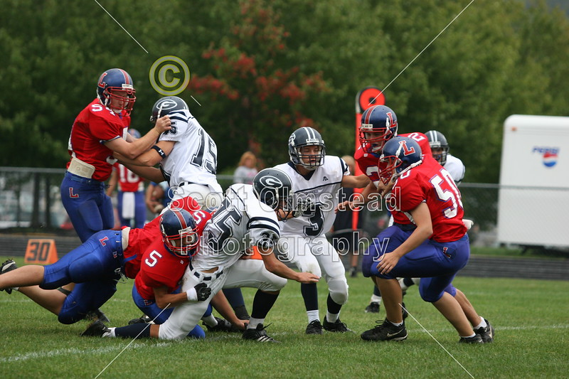 (15) Russell Seidell, (35) Nick Lozier, (3) Scott Tallman - September 17, 2005 Lakewood Lancers at Granville Blue Aces, JV Ball