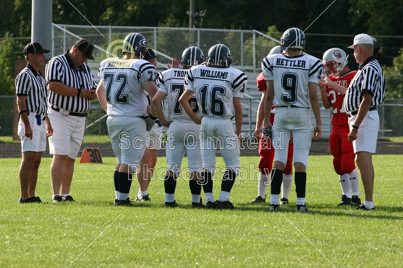 (72) Herb Breymaier, (76) Mike Thompson, (16) Mike Williams, (9) Ben Hetler - September 3, 2005 Utica Redskins at Granville Blue Aces, JV Ball