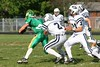 (2) Tucker McKenzie, (21) Devon Dager - September 14, 2009 Granville Blue Aces at Newark Catholic Green Wave, Freshman Football