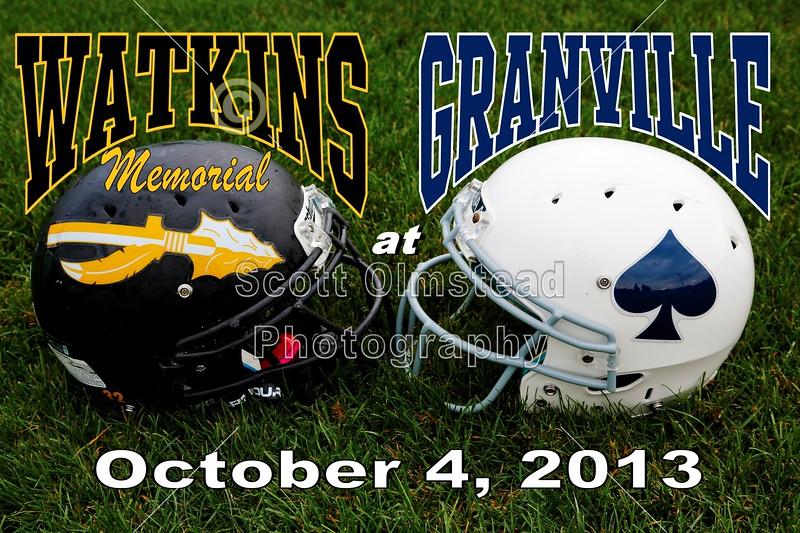 Friday, October 4, 2013 - Watkins Memorial Warriors at Granville, Blue Aces - Homecoming