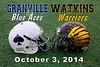 Granville High School Blue Aces at Watkins-Memorial High School Warriors - Friday, October 3, 2014