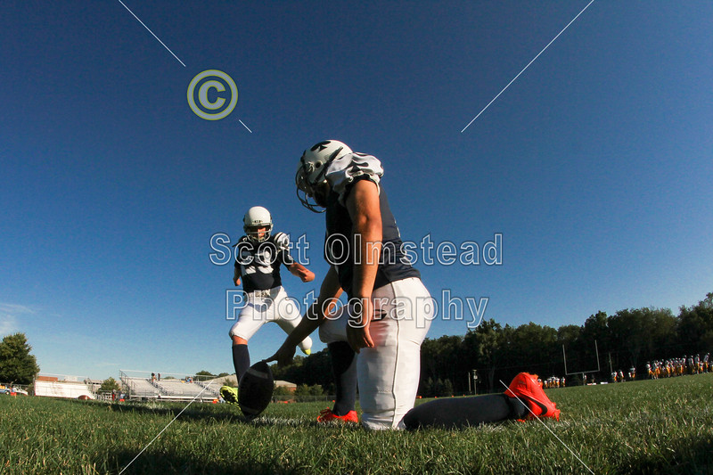 Pregame Warmups - Marion River Valley Vikings at Granville Blue Aces - Friday, August 29, 2014