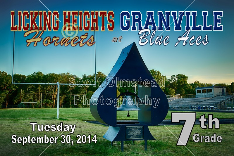 Middle School 7th Grade Football - Licking Heights Hornets at Granville Blue Aces - Tuesday, September 30, 2014