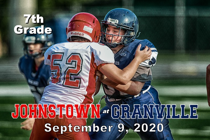 7th Grade Football - Johnstown Middle School Johnnies at Granville Middle School Blue Aces - Wednesday, September 9, 2020
