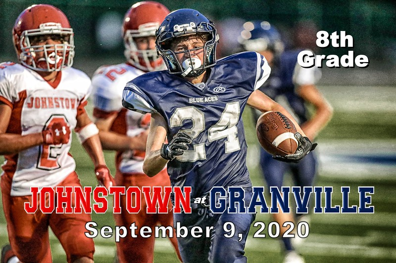 8th Grade Football - Johnstown Middle School Johnnies at Granville Middle School Blue Aces - Wednesday, September 9, 2020