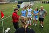 Team Captains and the Coin Toss - Upper Arlington High School Golden Bears at Granville High School Blue Aces - Junior Varsity - Saturday, August 29, 2015