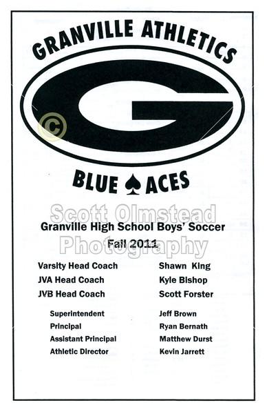 Game Program - Thursday, September 8, 2011 - Lakewood Lancers at Granville Blue Aces