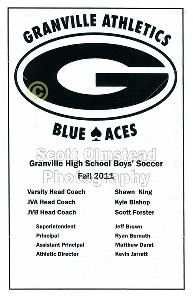 Game Program - Thursday, August 25, 2011 - Watkins Memorial Warriors at Granville Blue Aces