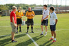 Team Captains and the Coin Toss - Junior Varsity - Jonathan Alder High School Pioneers at Granville High School Blue Aces - Tuesday, August 18, 2015