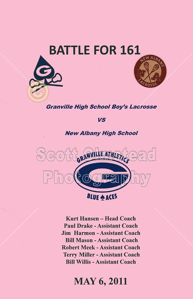 """Friday, May 6, 2011 - The Inaugural """"Battle for 161"""" featuring the New Albany Eagles at Granville Blue Aces"""